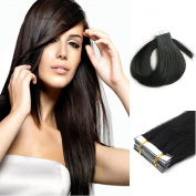 Yotty Tape in Skin Weft Remy Human Hair Extensions Dark Black 41cm - 70cm