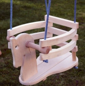 Baby Toddler Natural Wood Horse Figure Safety Swing Seat Chair - Wooden Swing Must Have Nursery or Playground Equipment - For Use Indoors or Outdoors