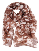 A168® Elephant Print Soft Celebrity Scarf Animal Fashion Large Long Shawl Scarves Available in Blue, Grey and Orange