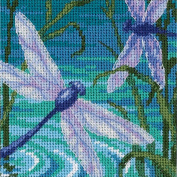Dragonfly Pair Mini Needlepoint Kit-13cm x 13cm Stitched In Thread & Ribbon