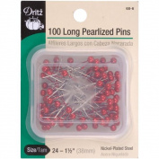 Long Pearlized Pins - Red Size 24 1-1/2 100/Pkg