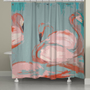 Laural Home Pink Flamingos Shower Curtain