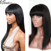Sunwell Natural Looking Brazilian Virgin Hair Straight Glueless Lace Front Wigs With Bang 100 Human Hair 130 Density