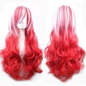 Beauty Wig World 70cm Long.Wavy White/Red.Top.Curly.Rihanna Hairstyle Cosplay Wigs