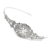 USABride Sparkling Crystal Rhinestone Bridal Headband Silver Tone Wedding Headpiece Jewelled Embellished Headbands 3239