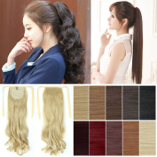 FUT Women Lady 46cm Wavy Curly Long Tie up Drawstring Ponytial Clip on Hair Extension Hairpiece Dark Black