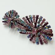 Crystal Rhinestone Hair Clip Barrette, 7.6cm - 1.3cm x 2.5cm - 1.3cm , Pink/Purple, BAR-3014C