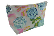 Dana Herbert Designer Travel Cosmetic Tolietries Bag, Size Medium 13cm x 23cm Cotton with Plastic Liner, Handmade in USA, Turquoise and Pink Rose Pattern