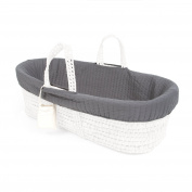 Tadpoles Line Stitched Moses Basket Bedding Only Set, Grey