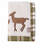 Trend Lab Deer Lodge Framed Coral Fleece Baby Blanket, Cream