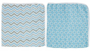 Blossoms & Buds Baby Boys' Blue Cotton Muslin Swaddle Blankets, Set of 2