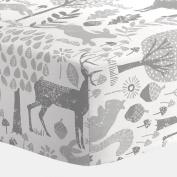 Carousel Designs Grey Woodland Animals Crib Sheet