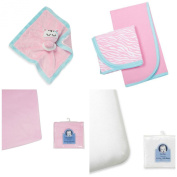 Newborn Baby Bundle Gift Set, 2 Receiving Blankets, Thermal, 2 Fitted Crib Sheets, 1 Velboa Security Blanket (Girls) (Pink) Gerber