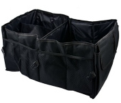 Viment Foldable Trunk Organiser, Sturdy Cargo Storage Box with Rope Handles, 62cm×26cm×40cm, Black