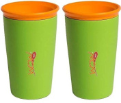 Wow Cup for Kids 360 Spill Free Drinking Cup - 270ml - Green with Orange Lid - 2 Count