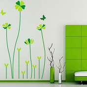 Green Five-leaf Grasses Butterflies Wall Decal PVC Home Sticker House Vinyl Paper Decoration WallPaper Living Room Bedroom Kitchen Art Picture DIY Murals Girls Boys kids Nursery Baby Playroom Decor