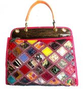 Multicoloured Snakeskin Animal Python Genuine Leather Purse Handbag