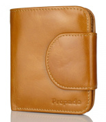 Propado Women's Soft Genuine Leather Trifold Wallet Small Purse Short Style with Zipper Pocket