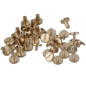 10 x 4 x 8mm Leather Brass Belt Wallet Craft Flat Solid Screw Nail Rivet Chicago Binding Screws With Studes Pack of 20