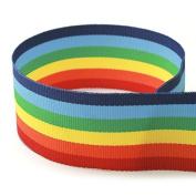 1.6cm Rainbow Striped Grosgrain Ribbon - 100 Yards - USA Made -