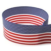 2.5cm - 1cm American Flag Striped Grosgrain Ribbon - 100 Yards - USA Made -