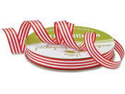 Red & White Stripe Cotton Curling Ribbon 1.3cm x 50 yds ~ 2-sided (2 Rolls) - WRAPS-763SREW