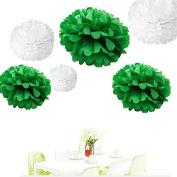 Since . 12Pcs of 20cm 25cm 36cm 3 Colours Mixed White and Dark Green Grey Tissue Paper Flowers, Tissue Paper Pom Poms, Wedding Decor, Party Decor, Pom Pom Flowers, Tissue Paper, Tissue Paper Flowers Kit, Pom Poms Craft, Wedding Pom Poms, Pom Poms Decor ..