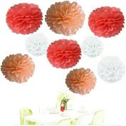 Since . 18Pcs of 20cm 25cm 36cm 3 Colours Mixed Coral White Peach Tissue Paper Flowers, Tissue Paper Pom Poms, Wedding Decor, Party Decor, Pom Pom Flowers, Tissue Paper, Tissue Paper Flowers Kit, Pom Poms Craft, Wedding Pom Poms, Pom Poms Decoration