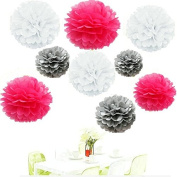 Since . 18Pcs of 20cm 25cm 36cm 3 Colours Mixed White Grey Hot pink Tissue Paper Flowers, Tissue Paper Pom Poms, Wedding Decor, Party Decor, Pom Pom Flowers, Tissue Paper, Tissue Paper Flowers Kit, Pom Poms Craft, Wedding Pom Poms, Pom Poms Decoration