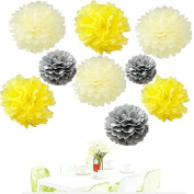 Since . 18Pcs of 20cm 25cm 36cm 3 Colours Mixed Yellow Grey Ivory Tissue Paper Flowers, Tissue Paper Pom Poms, Wedding Decor, Party Decor, Pom Pom Flowers, Tissue Paper, Tissue Paper Flowers Kit, Pom Poms Craft, Wedding Pom Poms, Pom Poms Decoration
