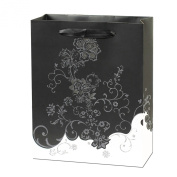 PAPTEL Premium Medium Black and White Wedding Bridal Party Gift Bags - 24cm x 20cm x 8.9cm - Set of 12