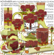 November Birth Flower and Gem Printable Paper Crafts CD rom