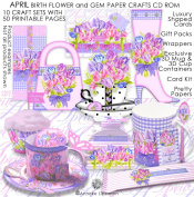April Birth Flower and Gem Printable Paper Crafts CD rom