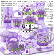 February Birth Flower and Gem Printable Paper Crafts CD rom