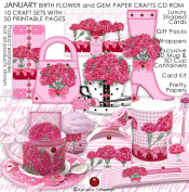 January Birth Flower and Gem Printable Paper Crafts CD rom