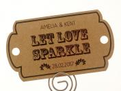 Summer-Ray.com 48 Personalised Kraft Vintage II Horizon Wedding Sparklers Tags Let Love Sparkle