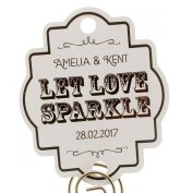 Summer-Ray.com 48 Personalised White Vintage Wedding Sparklers Tags Let Love Sparkle