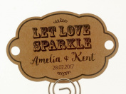 Summer-Ray.com 48 Personalised Kraft Vintage Shabby II (Horizontal) Wedding Sparklers Tags Let Love Sparkle