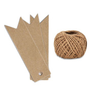 KINGLAKE 100PCS Kraft Paper Gift Tags with String Vintage Wedding Hang Price Tags 7cm x 2cm with 30m Natural Jute Twine