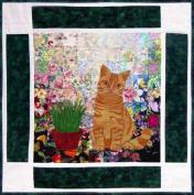 Watercolour Quilt Kit - Rachel's Cat Garden - Block 8 - British Shorthair Cat Tigger - KIT ONLY!