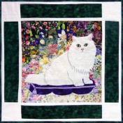 Watercolour Quilt Kit - Rachel's Cat Garden - Block 5 - Max Chinchilla Persian Cat - KIT ONLY!