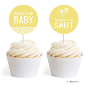 Andaz Press Yellow Chevron Gender Neutral Baby Shower Collection, Cupcake Topper DIY Party Favours Kit, 20-Pack