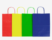 12CT LARGE PRIMARY BIODEGRADABLE, FOOD SAFE INK & PAPER, PREMIUM QUALITY PAPER (STURDY & THICKER), KRAFT BAG WITH coloured STURDY HANDLE