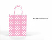 12CT SMALL LIGHT PINK BIODEGRADABLE, FOOD SAFE INK & PAPER KRAFT BAG WITH coloured STURDY HANDLE
