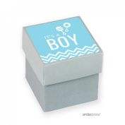 Andaz Press Baby Blue Chevron Boy Baby Shower Collection, Favour Box DIY Party Favours Kit, Thank You for Celebrating With Us!, 20-Pack