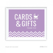 Andaz Press Lavender Chevron Girl Baby Shower Collection, Party Sign, Cards & Gifts, 22cm x 28cm , 1-Pack