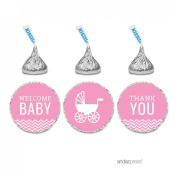 Andaz Press Pink Chevron Girl Baby Shower Collection, Welcome Baby Thank You Chocolate Drop Label Stickers Trio, 216-Pack, Fits Hershey's Kisses Party Favours