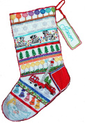 'Fire Truck' Crewel Christmas Stocking