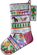 'Tea Party' Crewel Christmas Stocking