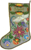 'Jacobean Dove' Crewel Christmas Stocking